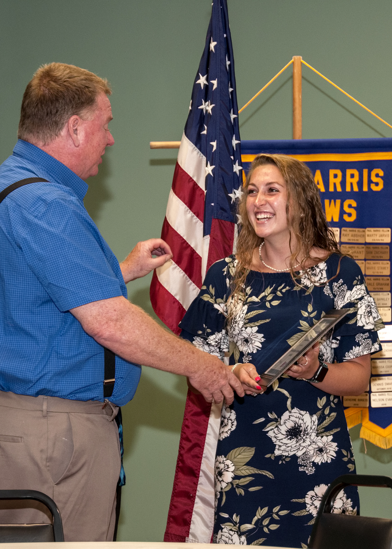 Matt Cooksey, Taylorsville Rotary Club Foundation Chair, congratulates Kendall Blankenship as one of the recipients of the CVCC Foundation Rotary Scholarships, which Taylorsville Rotary helps fund.