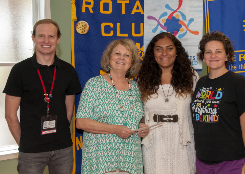 Pictured left to right: Club President Matt Schrum, Rotarian Cindy Sellers, Scholarship Winner Sarah Perez, Rotarian & Interact Liaison Mary Beth White
