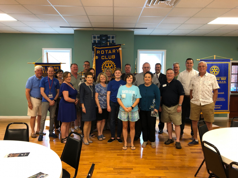Outbound Rotary Exchange Student Aubrie Holland pictured with the Taylorsville Rotary Club. Aubrie is spending two semesters in Mexico. She is the daughter of Rotarian Chris Holland.
